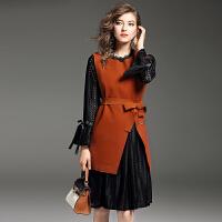 蕾丝镂空连衣裙秋冬甜美少女收腰显瘦长袖马甲背心裙打底两件套