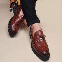 米乐猴 潮牌商务休闲男皮鞋鳄鱼纹尖头韩版皮鞋雕花厚底内增高男鞋工作鞋男鞋
