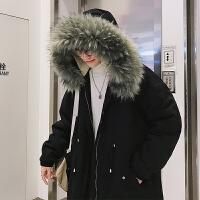 冬季男士中长款棉服毛领外套帅气保暖棉袄韩版学生潮流宽松棉服男