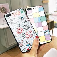 格子猫咪鱼苹果X手机壳iphone7新款卡通6s玻璃全包6plus硅胶边Xs Max硬壳8plus小清新7p潮牌男i8