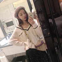 v领毛衣秋装女2018新款韩版宽松长袖套头甜美针织上衣 S 现货