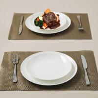 【当当自营】SKYTOP斯凯绨 陶瓷骨瓷西餐盘不锈钢刀叉8件套装 白瓷月光形