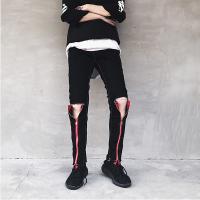 新款夜店潮男个性破洞修身直筒裤拉链装饰潮流男裤子韩版休闲牛仔