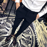 新款秋季男士休闲裤韩版修身英伦长裤社会青年酒吧发型师小脚裤子