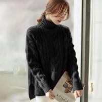 毛衣女士秋冬季软妹风宽松加厚粗毛线针织慵懒高领套头 X