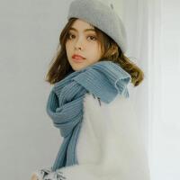 韩版简约坑条纯色针织学生毛线围巾女冬天保暖百搭围脖情侣款加