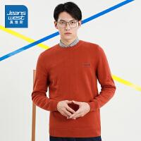 [到手�r:99.9元]真�S斯男�b 冬季新款 12G全棉�A�I加�q修身�L袖毛�衫
