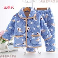 秋冬季儿童睡衣加厚款珊瑚绒女童女孩男童小孩宝宝夹棉法兰绒套装