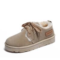 冬季新款雪地靴女韩版百搭防滑学生加绒保暖棉鞋平底系带面包鞋潮