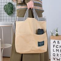 手提袋女帆布袋单肩学生帆布包大容量购物袋