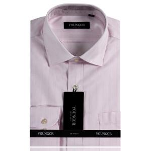 YOUNGOR雅戈尔 男装 商务正装 粉色暗纹 婚庆系列 DP纯棉免烫 长袖衬衫DP9058