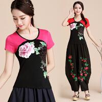 民族风女装短袖上衣 夏季新款中国风印花T恤女拼色大码弹力打底衫