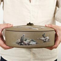 茶叶罐 大号 储存普洱饼散装茶罐子老岩泥汝窑陶土茶盒茶洗醒茶器