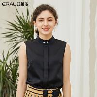艾莱依2019夏季新款优雅气质珍珠无袖小衫后背系带上衣601822072
