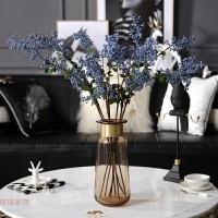 摩登 欧式现代金边玻璃花瓶花艺套餐别墅客厅餐厅家居装饰摆件 + 7蓝色浆果枝