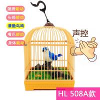 玩具鸟笼带会叫的小鸟 儿童创意电动仿真鹦鹉小鸟玩具会叫会动声控感应鸟笼1-2-3-6周岁 天蓝色 HL508A款