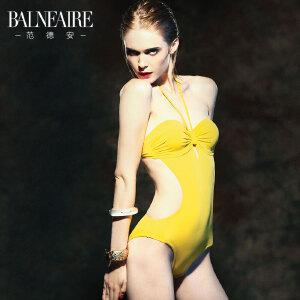 范德安钢托聚拢小胸三角连体游泳衣女 性感显瘦遮肚 保守泳装