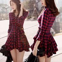 2018衬衫裙春秋装新款韩版女装短款修身显瘦红色格子长袖连衣裙 红色