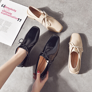 小皮鞋女鞋子女单鞋女2018新款夏百搭韩版平底粗跟豆豆鞋低跟一脚蹬工作鞋OL314DTH