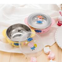[当当自营]韩国进口小猪佩奇不锈钢儿童婴儿餐具套装宝宝幼儿园带手柄碗防摔 手柄碗黄色