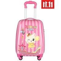 儿童拉杆箱女生行李箱宝宝密码箱小孩卡通18寸19登机小猫旅行皮箱 19寸 双面图案 自带密码锁