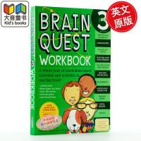 英文原版Brain Quest Grade 3 Workbook [With Stickers]美国学前小学生全科练习
