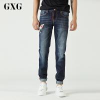 GXG男装 秋季新款蓝色牛仔长裤直筒修身原宿风韩版男#64805519