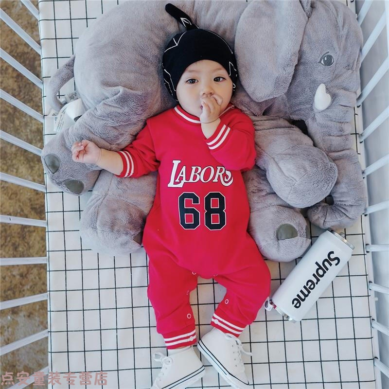冬季新生的儿宝宝衣服秋季婴儿外出抱衣男童秋装连体衣小孩爬爬服潮衣秋冬新款 红色 66cm