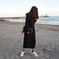 长款毛衣裙过膝秋冬季2018新款韩版毛衣女套头中长款针织连衣裙女 黑色