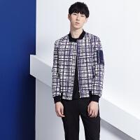 gxg.jeans男装休闲蓝白格纹立领青年夹克外套潮61921001