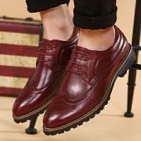 DAZED CONFUSED 潮牌秋季新款英伦雕花皮鞋潮鞋尖头皮鞋系带休闲鞋青年休闲男鞋低