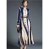 连衣裙秋冬女装新款米兰风长款H型束腰休闲女宽松外套长开衫