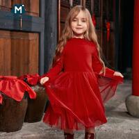 迷你巴拉巴拉女童红色连衣裙2019春装新品宝宝过年童装公主裙子