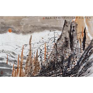 朱道平《松谷晚风图》