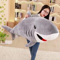 大鲨鱼毛绒玩具公仔软趴趴白鲨玩偶抱着睡觉的布娃娃抱枕男孩可爱