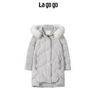 Lagogo拉谷谷2019冬季新款甜美纯色领羽绒服女中长款HCYY33XA81