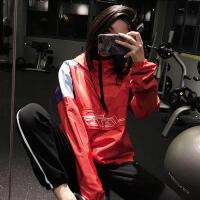 运动外套女宽松半拉链连帽健身瑜伽上衣速干长袖跑步卫衣