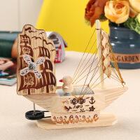 音乐盒 创意木质八音盒可爱小鸭子帆船音乐盒生日礼物女生送女友 款式随机发