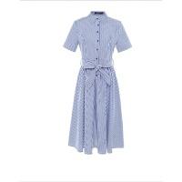 2018夏季新款POLO领气质衬衫裙收腰单排扣短袖中长款条纹连衣裙 蓝白条纹