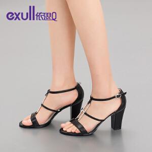 依思q秋夏新款凉鞋女时尚搭扣高跟粗跟水钻舒适女鞋