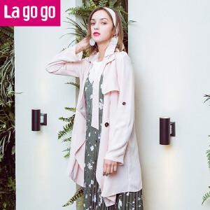 Lagogo2017年春秋季新款中长款百搭外套长袖系带显瘦韩版女风衣