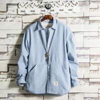 2018春季新款蓝白条纹长袖衬衫男休闲百搭韩版潮流袋鼠兜青年上衣