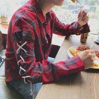 新款男秋季衬衫小码学生时尚格子衬衣男士长袖日韩港仔休闲情侣装