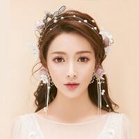 新款森系甜美发箍仿真紫色花朵蝴蝶珍珠造型韩式新娘结婚头饰品