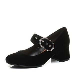 Belle/百丽2017秋黑色时尚复古绒布粗跟浅口玛丽珍女鞋BOS05CQ7