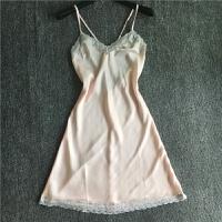 新品夏季女吊带睡衣纯洁白色真丝性感睡裙青春少女打底连衣裙