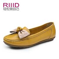 RIIID女鞋 休闲舒适平跟单鞋 甜美蝴蝶结平底鞋 真皮豆豆鞋潮