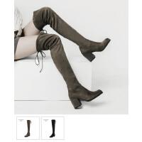 长靴女过膝高跟显瘦青婉田2018新款瘦腿防掉筒春秋长筒靴女弹力靴