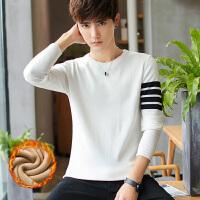 加绒加厚针织衫男新款韩版圆领打底衫青少年套头休闲加绒秋装毛衣