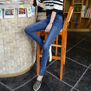 SOOSSN 2018夏季新款深色牛仔裤女长裤小脚裤深蓝色修身韩国学生铅笔裤16109
